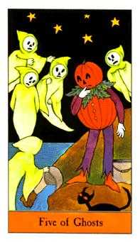 Five of Ghosts Tarot Card - Halloween Tarot Deck