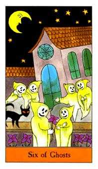 Six of Ghosts Tarot Card - Halloween Tarot Deck