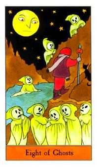 Eight of Ghosts Tarot Card - Halloween Tarot Deck