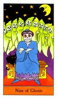 Nine of Ghosts Tarot Card - Halloween Tarot Deck