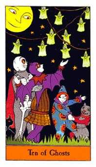Ten of Ghosts Tarot Card - Halloween Tarot Deck