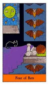 Four of Bats Tarot Card - Halloween Tarot Deck