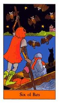 Six of Swords Tarot Card - Halloween Tarot Deck