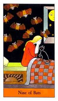 Nine of Bats Tarot Card - Halloween Tarot Deck