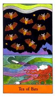 Ten of Bats Tarot Card - Halloween Tarot Deck