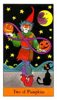 Two of Pumpkins Tarot Card - Halloween Tarot Deck