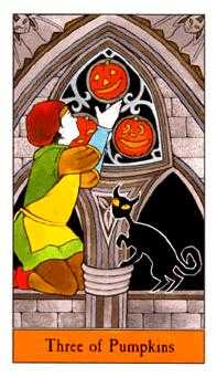 Three of Pumpkins Tarot Card - Halloween Tarot Deck