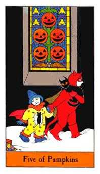 Five of Pentacles Tarot Card - Halloween Tarot Deck