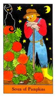 Seven of Coins Tarot Card - Halloween Tarot Deck