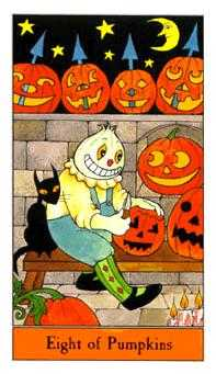 Eight of Coins Tarot Card - Halloween Tarot Deck