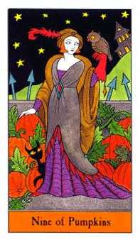 Nine of Coins Tarot Card - Halloween Tarot Deck
