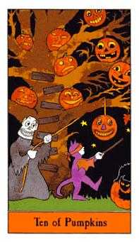 Ten of Pumpkins Tarot Card - Halloween Tarot Deck