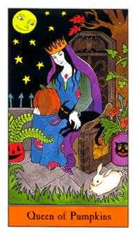Queen of Coins Tarot Card - Halloween Tarot Deck