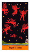 Eight of Imps Tarot card in Halloween Tarot deck
