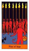 Nine of Imps Tarot card in Halloween Tarot deck