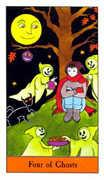 Four of Ghosts Tarot card in Halloween Tarot deck