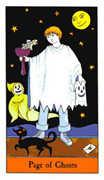 Page of Ghosts Tarot card in Halloween Tarot deck