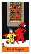 Five of Pumpkins Tarot card in Halloween Tarot deck