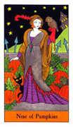 Nine of Pumpkins Tarot card in Halloween Tarot deck