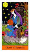 Queen of Pumpkins Tarot card in Halloween Tarot deck