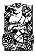 Justice Tarot card in Heart & Hands deck