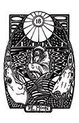 The Moon Tarot card in Heart & Hands deck