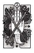 Two of Wands Tarot card in Heart & Hands deck