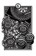 Six of Cups Tarot card in Heart & Hands deck