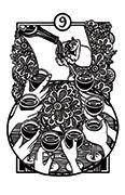 Nine of Cups Tarot card in Heart & Hands deck