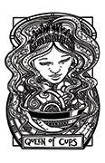 Queen of Cups Tarot card in Heart & Hands deck
