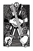 Two of Swords Tarot card in Heart & Hands deck