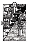 Four of Swords Tarot card in Heart & Hands deck