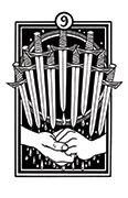 Nine of Swords Tarot card in Heart & Hands deck