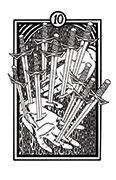 Ten of Swords Tarot card in Heart & Hands deck