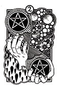 Two of Pentacles Tarot card in Heart & Hands deck