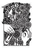 Nine of Pentacles Tarot card in Heart & Hands deck