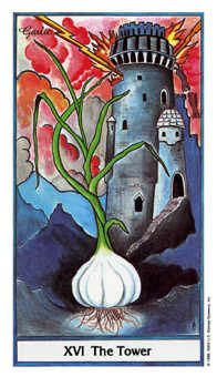 The Falling Tower Tarot Card - Herbal Tarot Deck