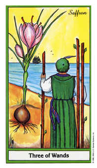 Three of Rods Tarot Card - Herbal Tarot Deck