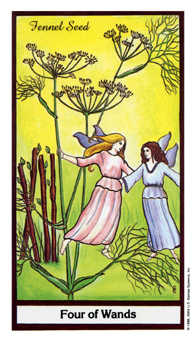 Four of Pipes Tarot Card - Herbal Tarot Deck
