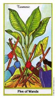 Five of Pipes Tarot Card - Herbal Tarot Deck