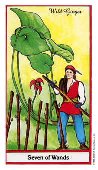 Seven of Rods Tarot Card - Herbal Tarot Deck