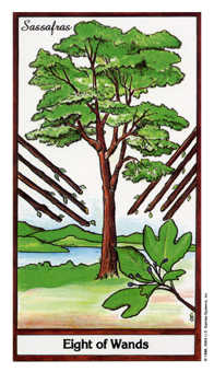 Eight of Pipes Tarot Card - Herbal Tarot Deck