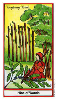 Nine of Batons Tarot Card - Herbal Tarot Deck