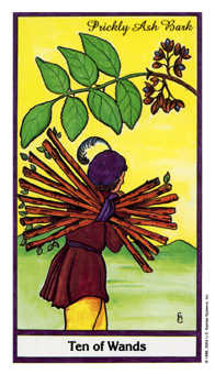 Ten of Rods Tarot Card - Herbal Tarot Deck