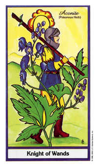 Knight of Batons Tarot Card - Herbal Tarot Deck