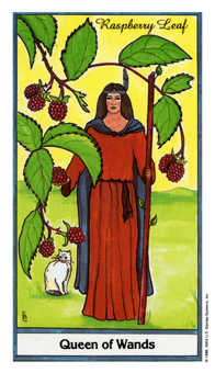 Queen of Rods Tarot Card - Herbal Tarot Deck