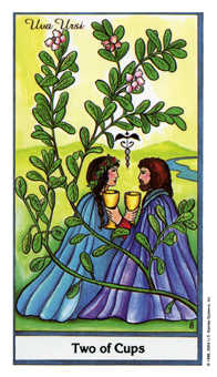 Two of Hearts Tarot Card - Herbal Tarot Deck