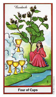 Four of Cups Tarot Card - Herbal Tarot Deck