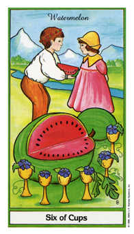Six of Hearts Tarot Card - Herbal Tarot Deck