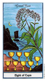 Eight of Water Tarot Card - Herbal Tarot Deck